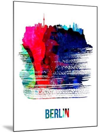 Berlin Skyline Brush Stroke - Watercolor-NaxArt-Mounted Art Print
