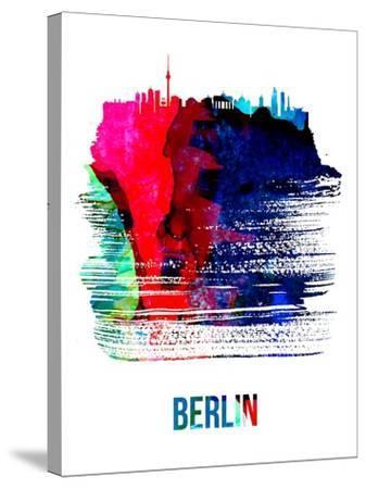 Berlin Skyline Brush Stroke - Watercolor-NaxArt-Stretched Canvas Print