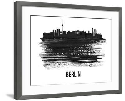 Berlin  Skyline Brush Stroke - Black II-NaxArt-Framed Art Print