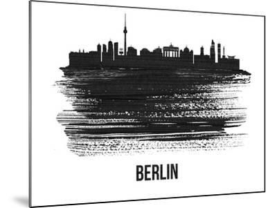 Berlin  Skyline Brush Stroke - Black II-NaxArt-Mounted Art Print