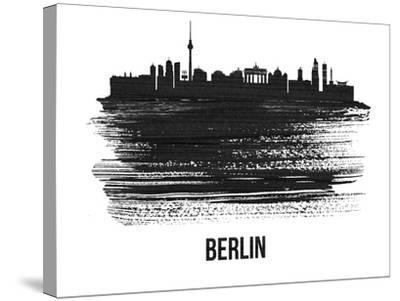 Berlin  Skyline Brush Stroke - Black II-NaxArt-Stretched Canvas Print