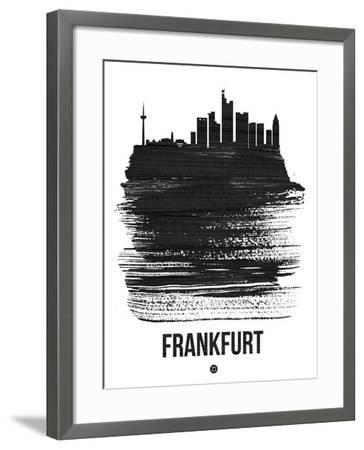 Frankfurt Skyline Brush Stroke - Black-NaxArt-Framed Art Print