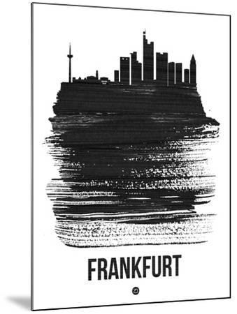 Frankfurt Skyline Brush Stroke - Black-NaxArt-Mounted Art Print