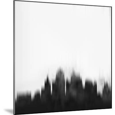 Kansas City Skyline - Black-NaxArt-Mounted Art Print