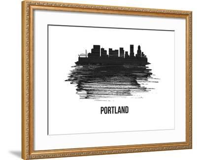 Portland Skyline Brush Stroke - Black II-NaxArt-Framed Art Print