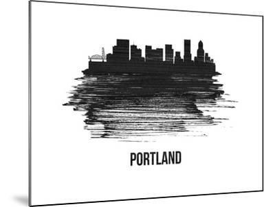 Portland Skyline Brush Stroke - Black II-NaxArt-Mounted Art Print