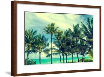 Tropical Palm Trees on the Miami Beach near the Ocean, Florida, Usa, Retro Styled-EllenSmile-Framed Photographic Print