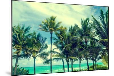 Tropical Palm Trees on the Miami Beach near the Ocean, Florida, Usa, Retro Styled-EllenSmile-Mounted Photographic Print