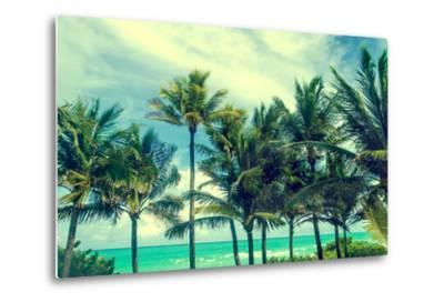 Tropical Palm Trees on the Miami Beach near the Ocean, Florida, Usa, Retro Styled-EllenSmile-Metal Print