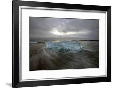 Black Sand Beach with Ice and Small Icebergs-Raul Touzon-Framed Photographic Print
