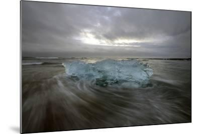 Black Sand Beach with Ice and Small Icebergs-Raul Touzon-Mounted Photographic Print