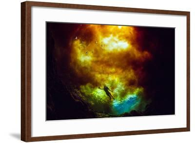 A Woman Swims Where Spring Water Mixes with Tannic Water from the Santa Fe River-Jennifer Adler-Framed Photographic Print
