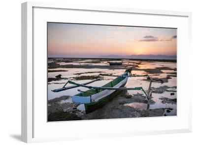 A Fisherman Boat at Low Tide Sunset-Max Lowe-Framed Photographic Print