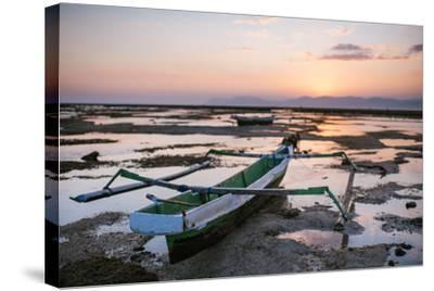 A Fisherman Boat at Low Tide Sunset-Max Lowe-Stretched Canvas Print