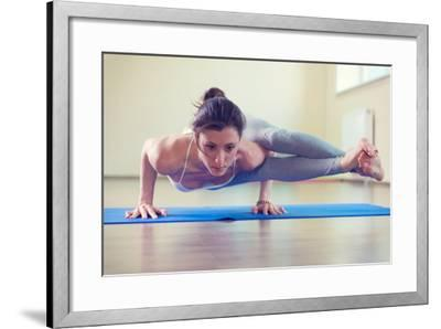 Beautiful Young Woman Yoga Workout in Gym-spass-Framed Photographic Print