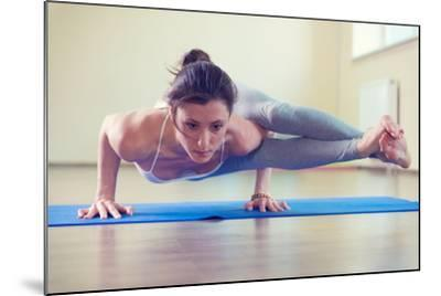 Beautiful Young Woman Yoga Workout in Gym-spass-Mounted Photographic Print