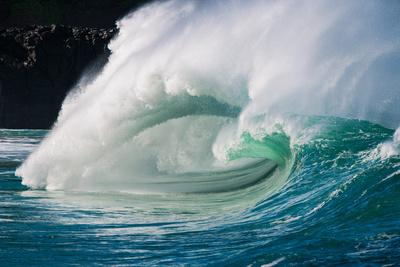 Giant surf at Waimea Bay Shorebreak, North Shore, Oahu, Hawaii-Mark A Johnson-Framed Photographic Print
