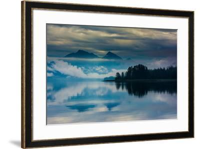 The misty mountains and calm waters of the Tongass National Forest, Southeast Alaska, USA-Mark A Johnson-Framed Photographic Print