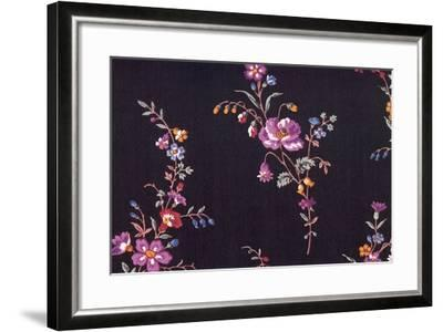 Floral Repeat on Black--Framed Giclee Print