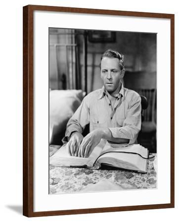 Blind Man Reading Book in Braille--Framed Photo