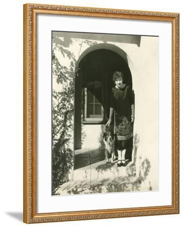 A Woman and Her Dog--Framed Photo