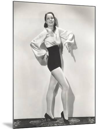 Dancer Posing in High-Waisted Shorts and Silk Blouse--Mounted Photo