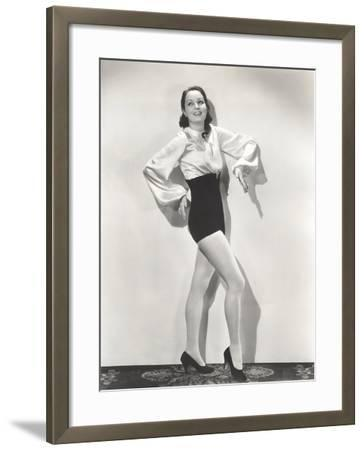 Dancer Posing in High-Waisted Shorts and Silk Blouse--Framed Photo