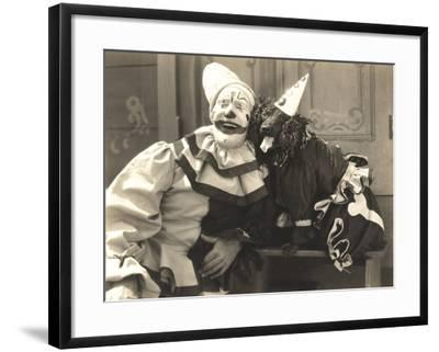 Clown Posing with Dog Dressed in Clown Costume--Framed Photo