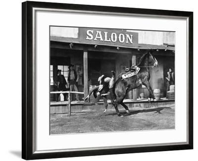 Cowboy Being Thrown Off His Horse--Framed Photo