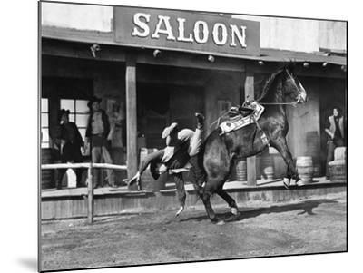 Cowboy Being Thrown Off His Horse--Mounted Photo