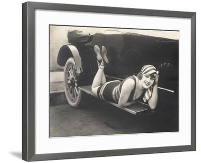 Bathing Beauty Posing on Running Board of Convertible--Framed Photo