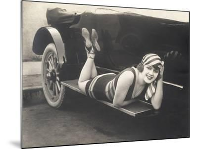 Bathing Beauty Posing on Running Board of Convertible--Mounted Photo