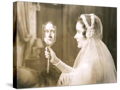 Bride Gazing into Hand Mirror--Stretched Canvas Print