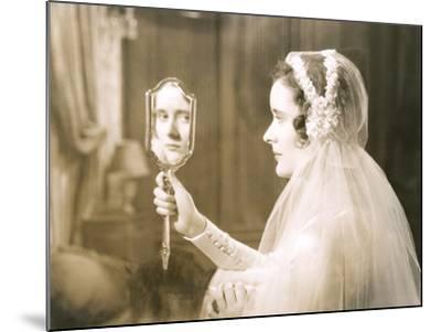 Bride Gazing into Hand Mirror--Mounted Photo