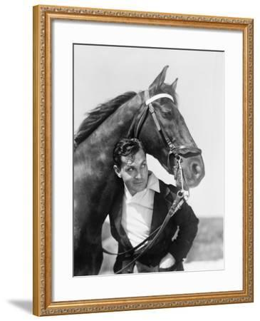 Man and Horse Standing Together--Framed Photo
