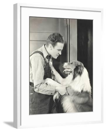 Man and His Collie--Framed Photo