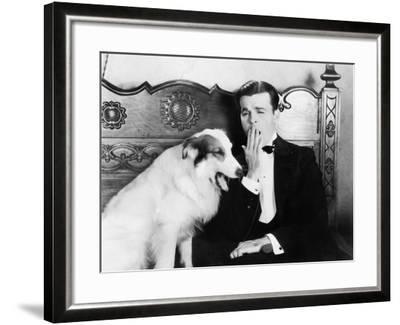 Man and Dog Sitting Together Yawning--Framed Photo