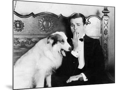 Man and Dog Sitting Together Yawning--Mounted Photo