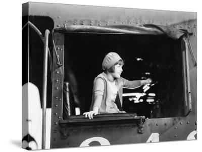 Little Girl in a Beret Driving a Train--Stretched Canvas Print