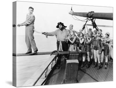 Group of Pirates Trying to Push a Young Man over a Plank--Stretched Canvas Print