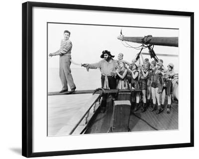 Group of Pirates Trying to Push a Young Man over a Plank--Framed Photo