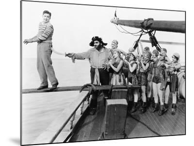 Group of Pirates Trying to Push a Young Man over a Plank--Mounted Photo