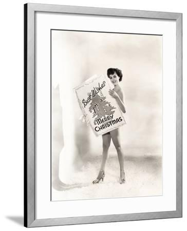 Naked Woman Covered by a Giant Christmas Card--Framed Photo