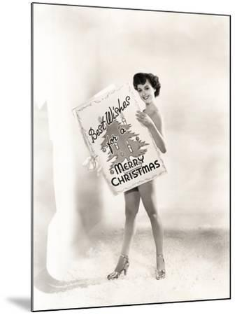 Naked Woman Covered by a Giant Christmas Card--Mounted Photo