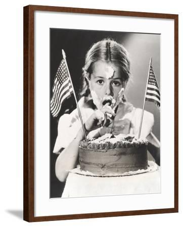 Girl with July 4th Cake All over Her Face--Framed Photo