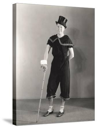 Man Posing in Cuffs, Top Hat and Circus Costume--Stretched Canvas Print