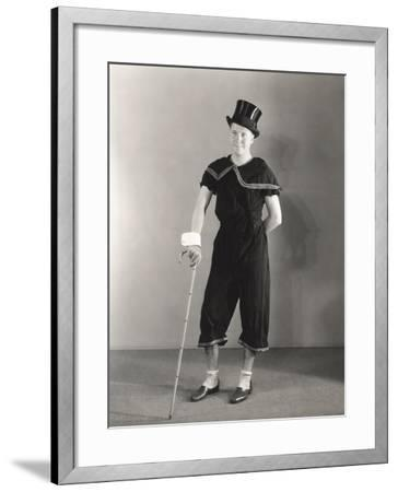 Man Posing in Cuffs, Top Hat and Circus Costume--Framed Photo