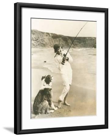 Fishing at the Beach with Her Dog--Framed Photo