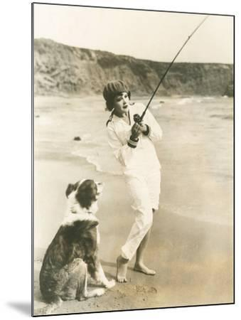Fishing at the Beach with Her Dog--Mounted Photo