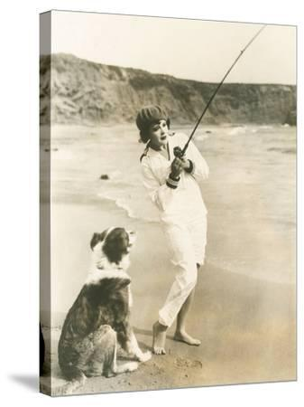 Fishing at the Beach with Her Dog--Stretched Canvas Print